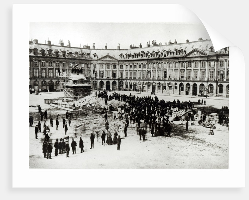 Destruction of the Vendome Column during the Commune by French Photographer