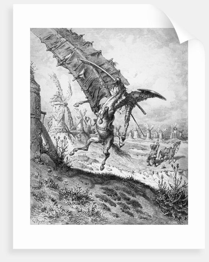 Don Quixote and the Windmills by Gustave Dore
