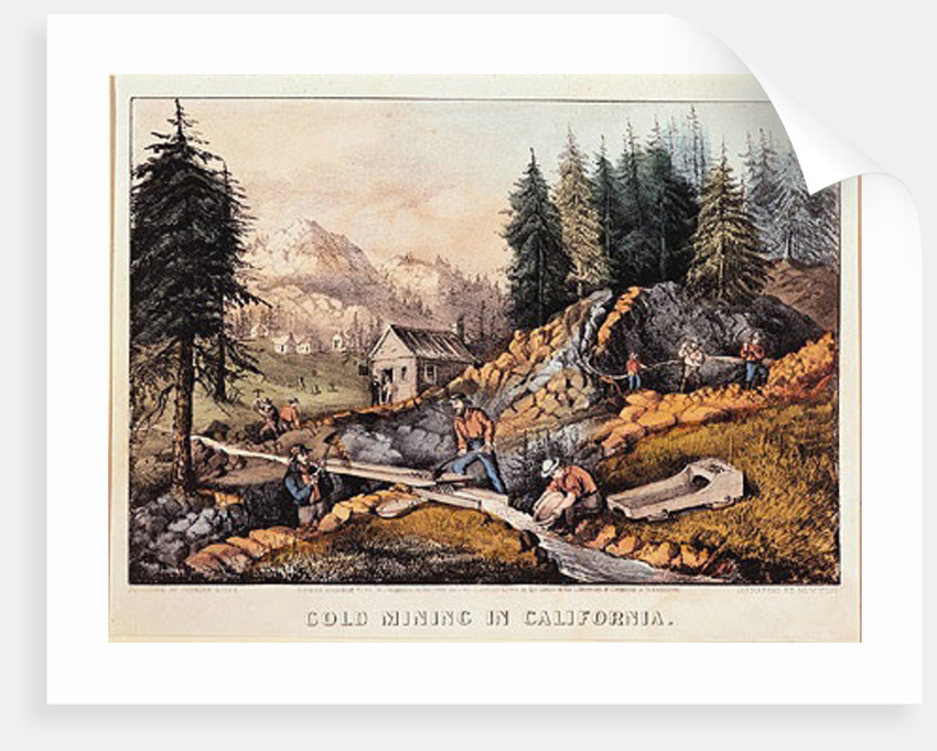 Gold Mining in California by American School