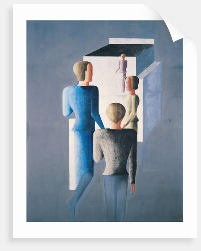 Four Figures and a Cube, 1928 by Oskar Schlemmer