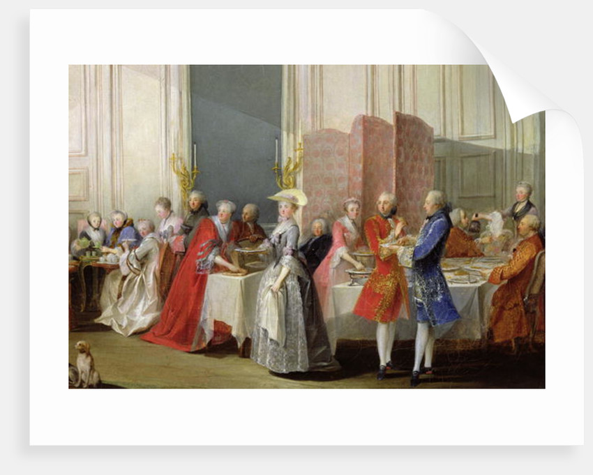 English Tea in the Salon des Quatre Glaces at the House of the Prince de Conti Palais du Temple by Michel Barthelemy Ollivier or Olivier