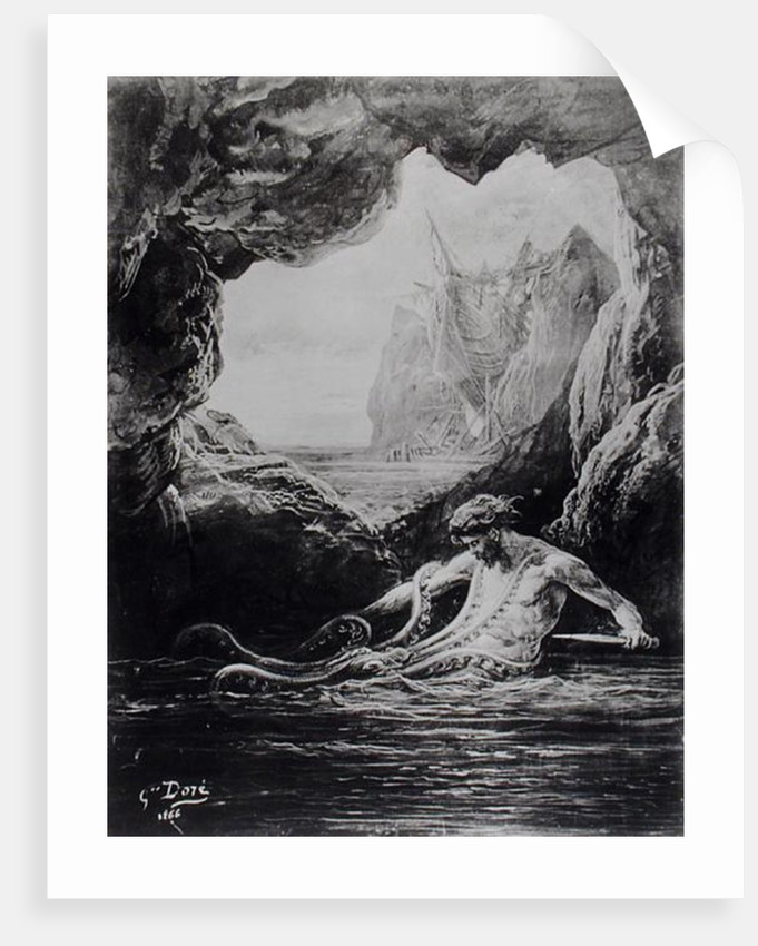 Gilliatt struggles with the giant octopus by Gustave Dore