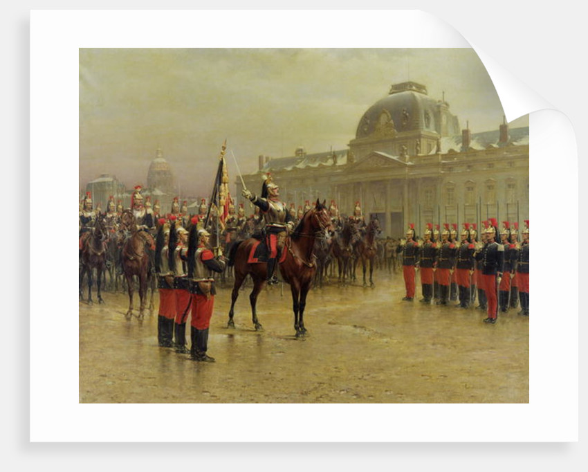 Colonel de La Rochetulon Presenting to the Recruits of the 6th Cavalry the Standard of the Regiment by Louis Auguste Georges Loustaunau
