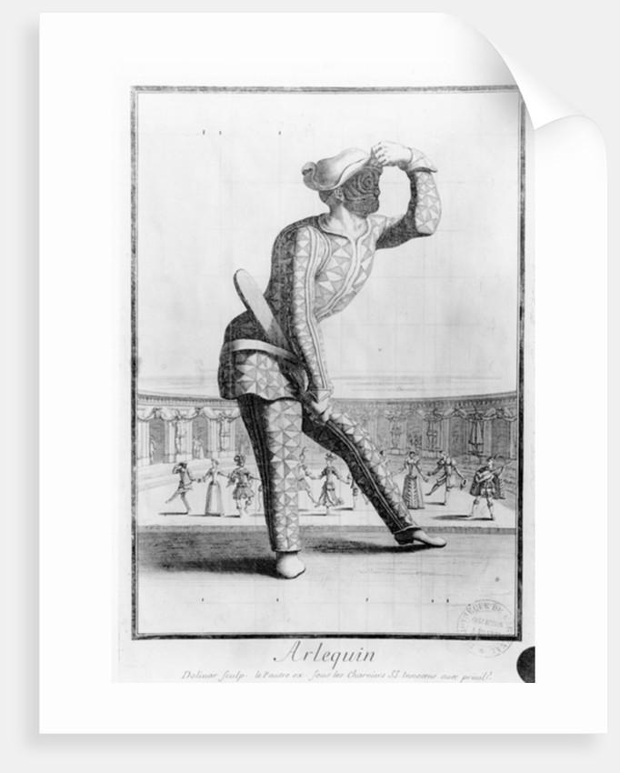 Harlequin, engraved by Juan Dolivar by Antoine Le Pautre