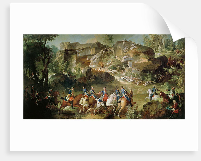 Hunting in the Forest of Fontainebleau at Franchard by Jean-Baptiste Oudry