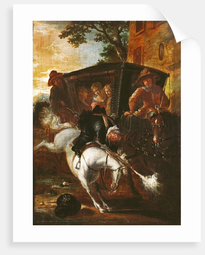 With a Musket on his Back, Ragotin Climbs onto his Horse to Accompany the Troupe by Jean de Coulom