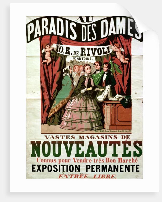 Poster advertising 'Au Paradis des Dames', Parisian shop by Jean Alexis Rouchon