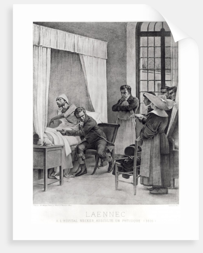 Rene Theophile Hyacinthe Laennec listening to the chest of a man with consumption by Theobald Chartran