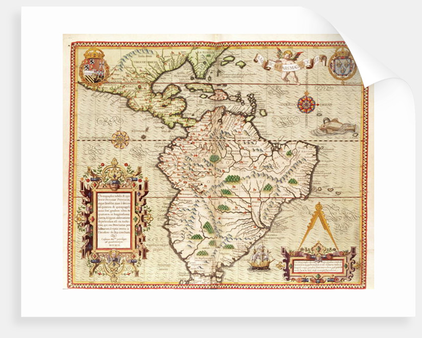 Map of Central and South America posters & prints by Theodore de Bry