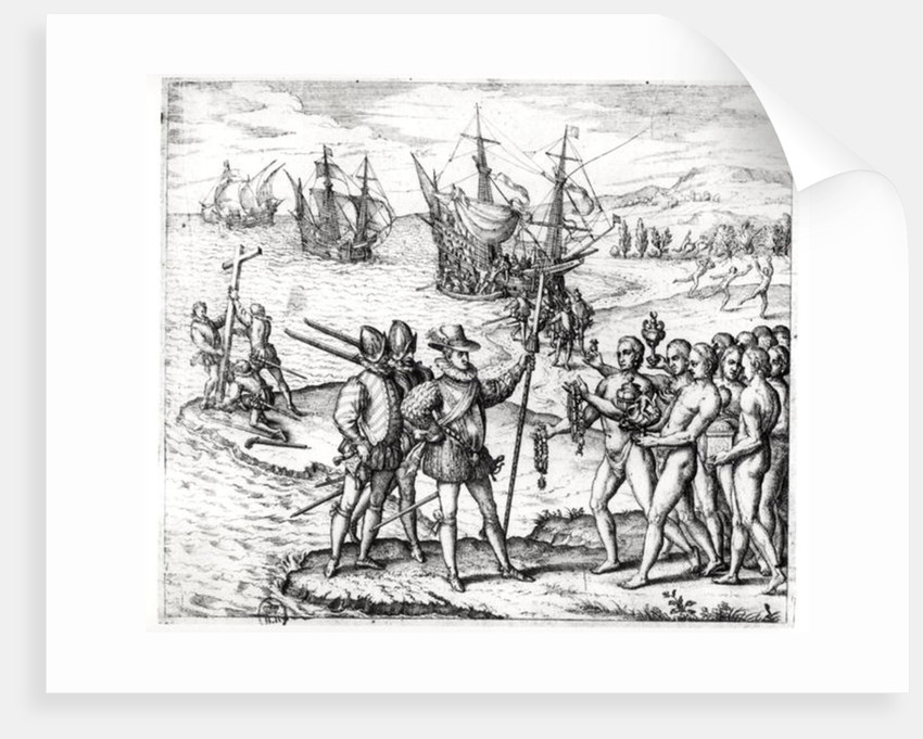 Christopher Columbus receiving gifts from the cacique, Guacanagari, in Hispaniola by Theodore de Bry