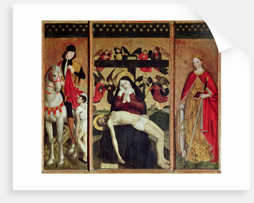 Triptych depicting Pieta between St. Martin and St. Catherine by Ludovico Brea