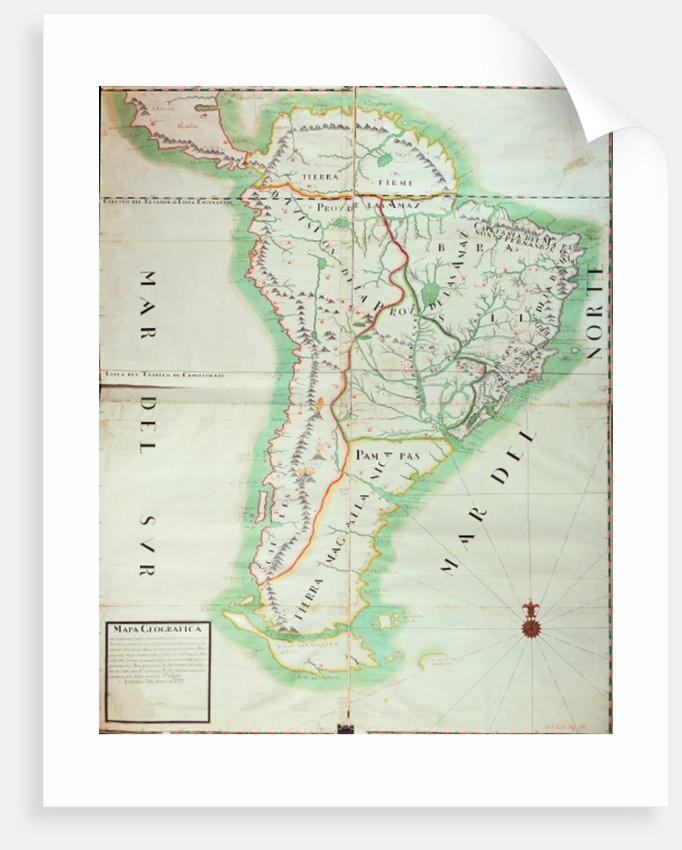 Map of South America by Spanish School