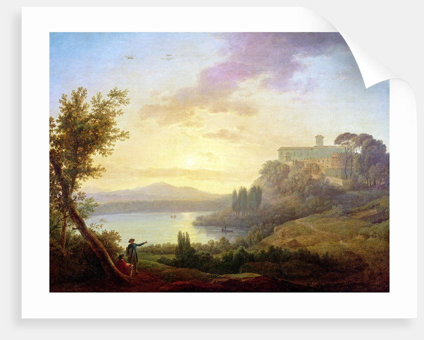 Italian Landscape, Setting Sun by Jean-Francois Hue