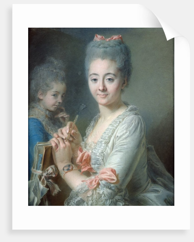 Madame Theodore Lacroix Drawing a Portrait of her Daughter, Suzanne Felicite by Jean Valade