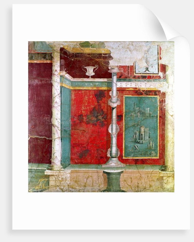 Architectural detail with a landscape, from Pompeii by Roman