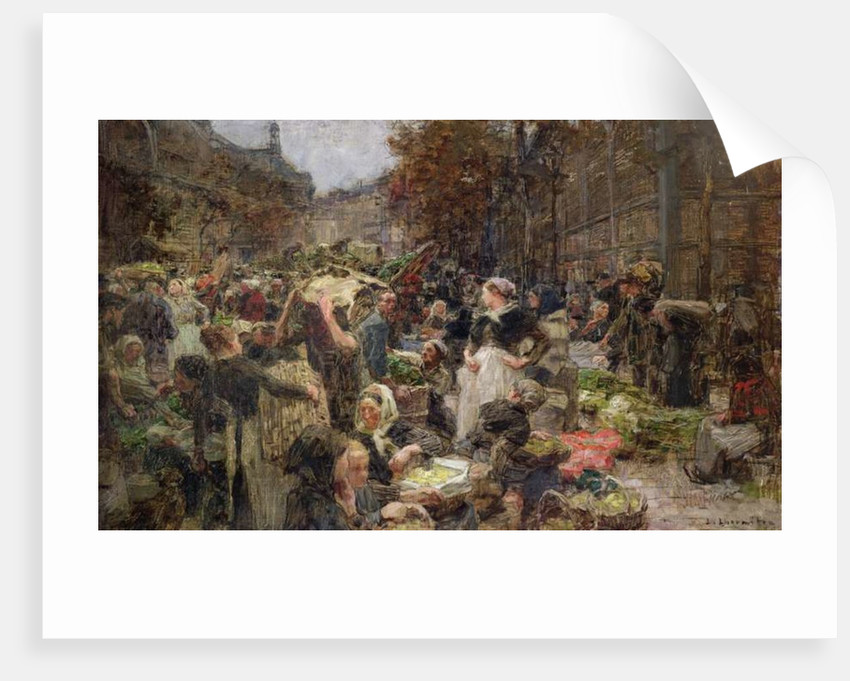 Les Halles, study for a painting for the Salon des Lettres at the Hotel de Ville, Paris by Leon Augustin Lhermitte