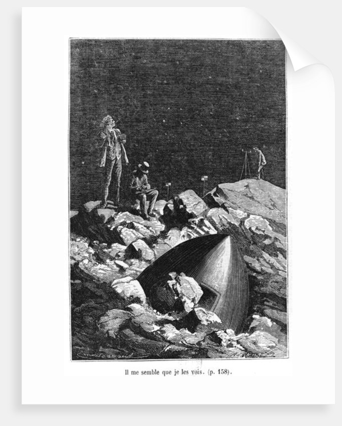 Illustration from 'From the Earth to the Moon' by Jules Verne Paris, Hetzel by Emile Antoine Bayard