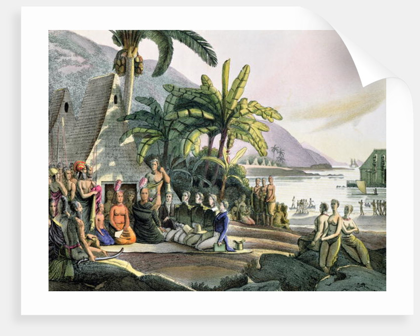 Meeting between the Expedition Party of Otto von Kotzebue and King Kamehameha I, Ovayhi Island by Ludwig Choris