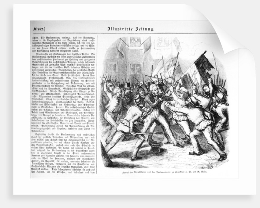 Fight between the Republicans and the members of Parliament at Frankfurt-am-Main on 30th March 1848 by German School