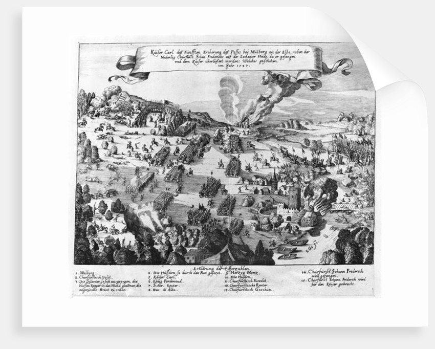 General view of the battle of Muhlberg by German School
