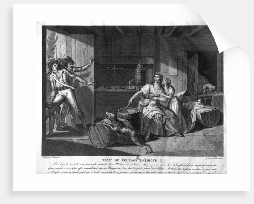 Act of heroic courage of a woman facing Vendean robbers having gained control of Saint-Mithier by J. F. Cazenave