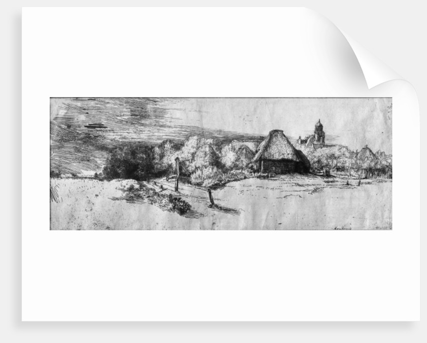 Large Landscape with a Tower by Rembrandt Harmensz. van Rijn