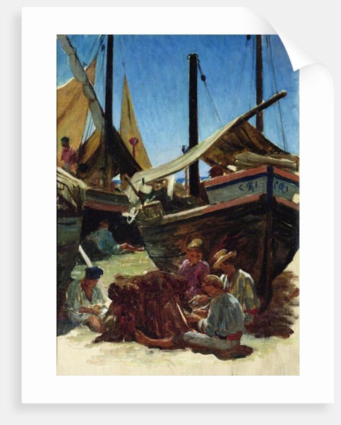 Anzio, The Port by Antoine Auguste Ernest Herbert or Hebert