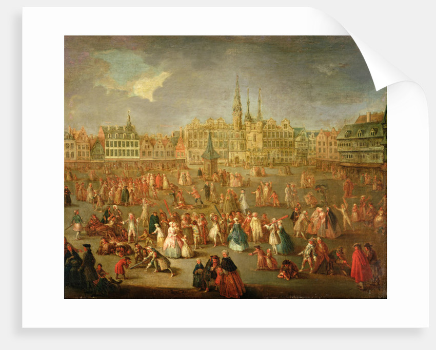 The Grand Place during Mardi Gras, Cambrai by Antoine Francois Saint-Aubert