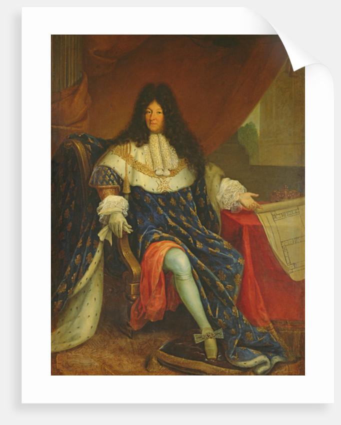 Louis XIV Holding a Plan of the Maison Royale de Saint-Cyr by French School