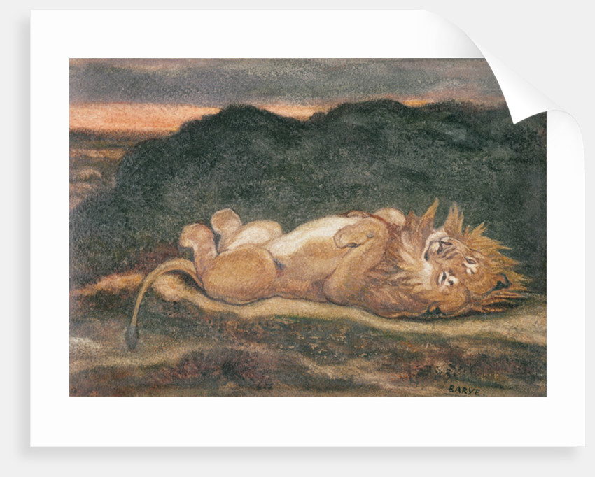 Lion Resting on his Back by Antoine Louis Barye