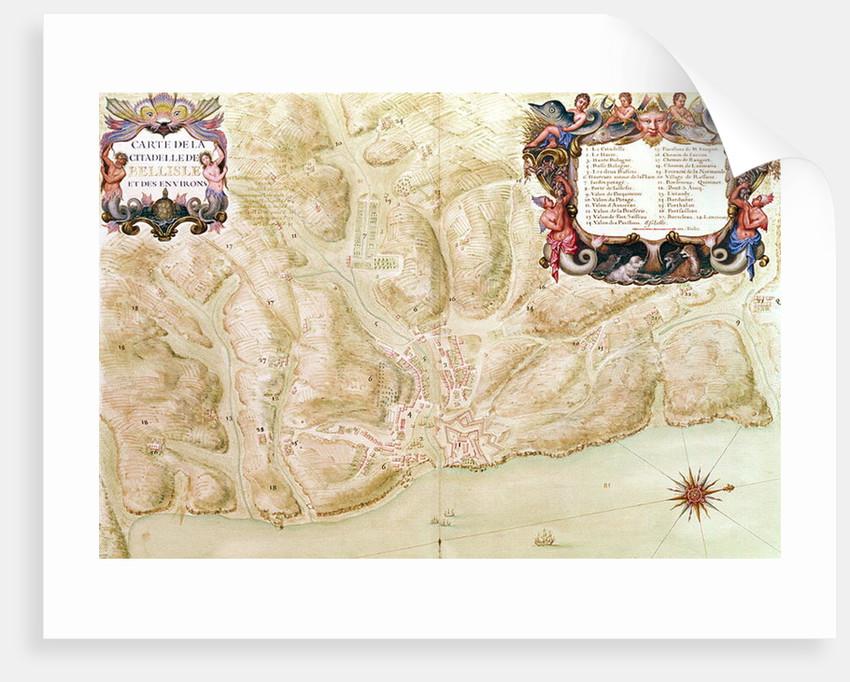 Ms 988 volume 3 fol.33 Map of the town and citadel of Bellisle by Sebastien Le Prestre de Vauban