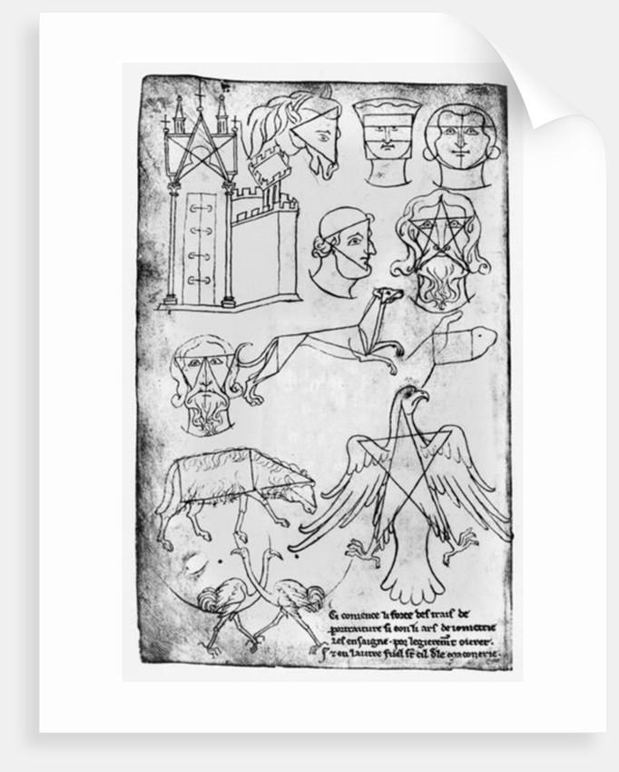 Ms Fr 19093 fol.18v Various drawings (facsimile copy) by Villard de Honnecourt