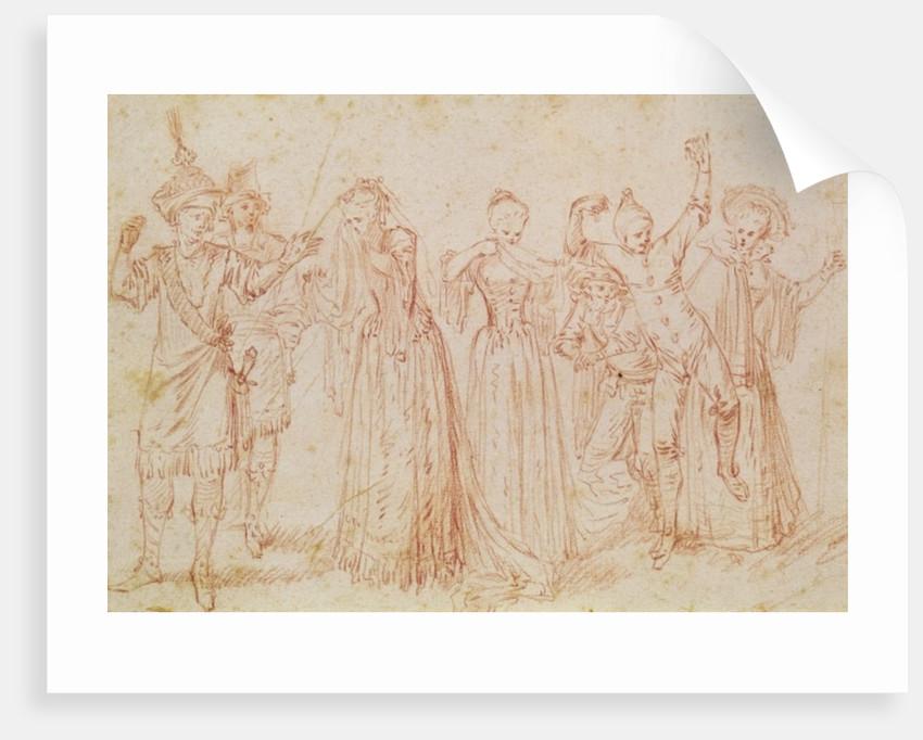 Group of Comic and Tragic Actors by Jean Antoine Watteau