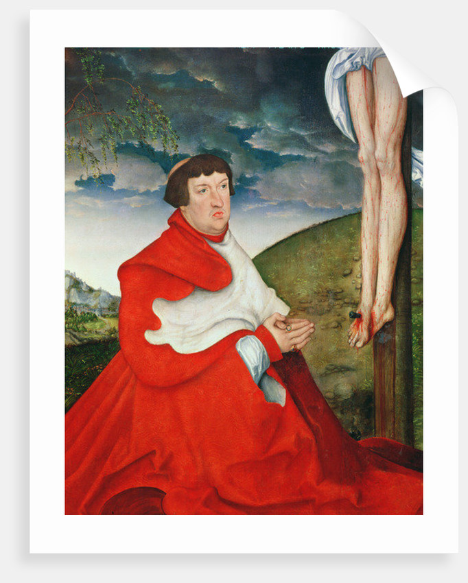 Albert, Cardinal Elector of Mainz at the foot of the Cross by Lucas