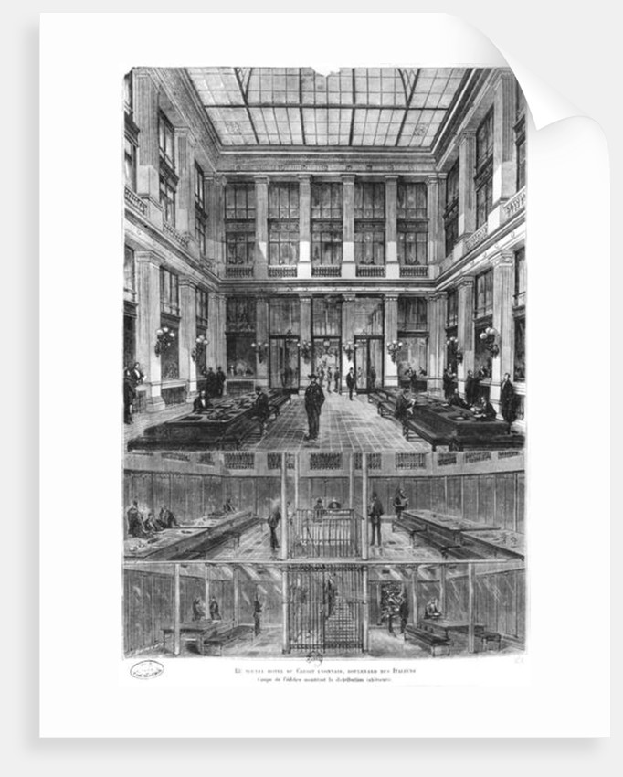 Interior and cross-section of the new Credit Lyonnais Hotel by French School