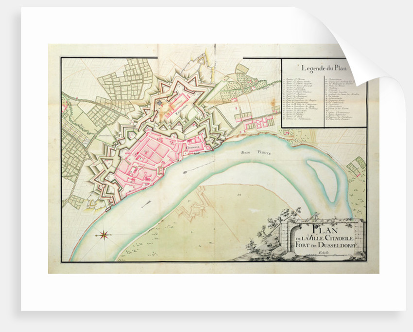 Map of Dusseldorf by French School