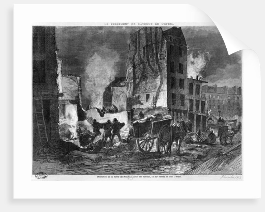 Building of Avenue de l'Opera, demolition of the Butte des Moulins by engraved by Charles Baude December 1876