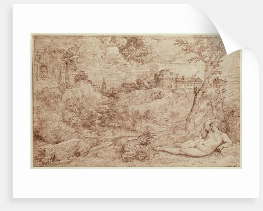 Landscape with a Dragon and a Nude Woman Sleeping by Titian