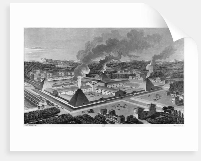 Perspective view of a canon forge by Claude Nicolas Ledoux