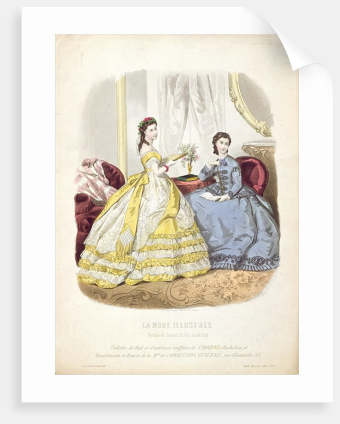 Fashion plate showing ballgowns by French School
