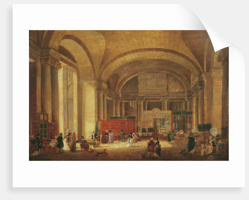 Print sellers at the entrance to Louvre by Pierre Antoine Demachy