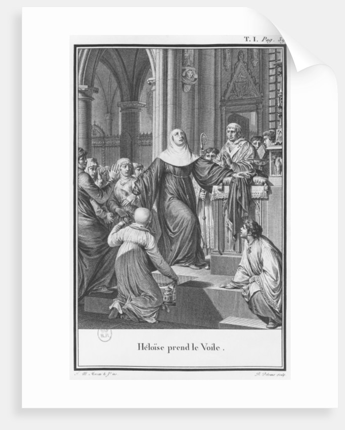 Heloise taking the veil by engraved by Remi Delvaux