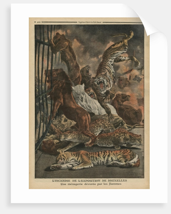 The fire at the Universal Exhibition of Brussels, a menagerie being consumed by the flames by French School