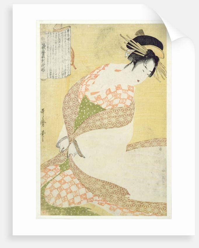 Courtesan Kneeling by Kitagawa Utamaro