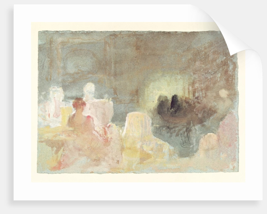 Interior at Petworth with a seated woman by Joseph Mallord William Turner