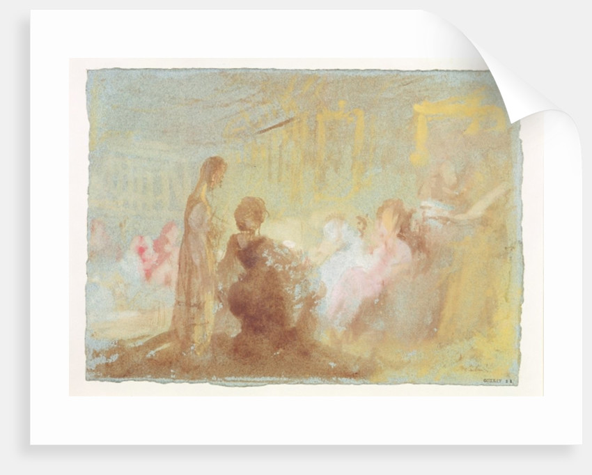 Interior at Petworth House with people in conversation by Joseph Mallord William Turner