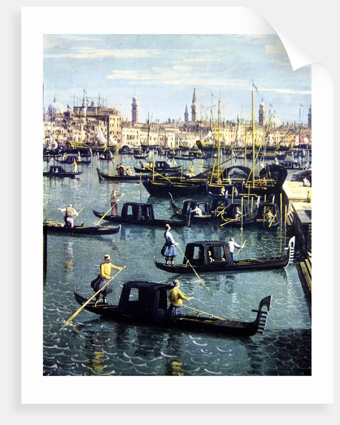 Gondoliers near the Entrance to the Grand Canal and the church of Santa Maria della Salute, Venice by Canaletto