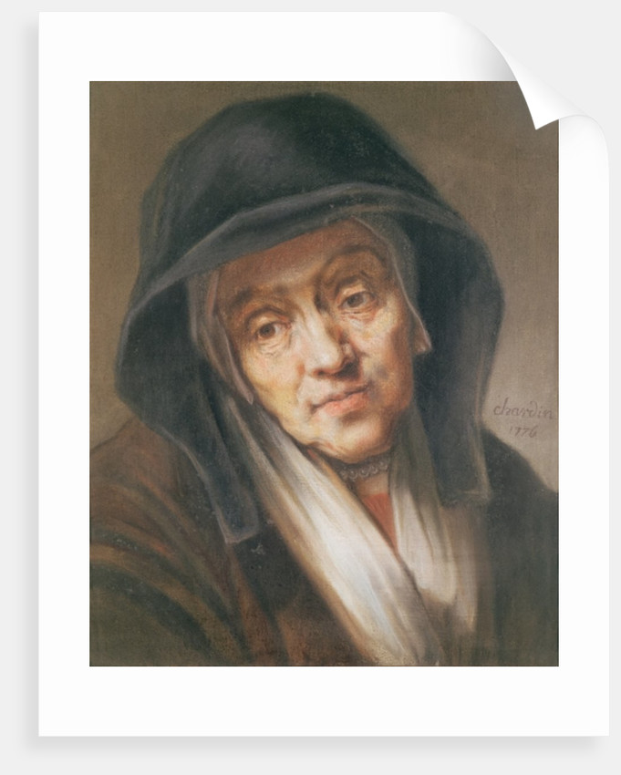 Copy of a portrait by Rembrandt of his mother by Jean-Baptiste Simeon Chardin