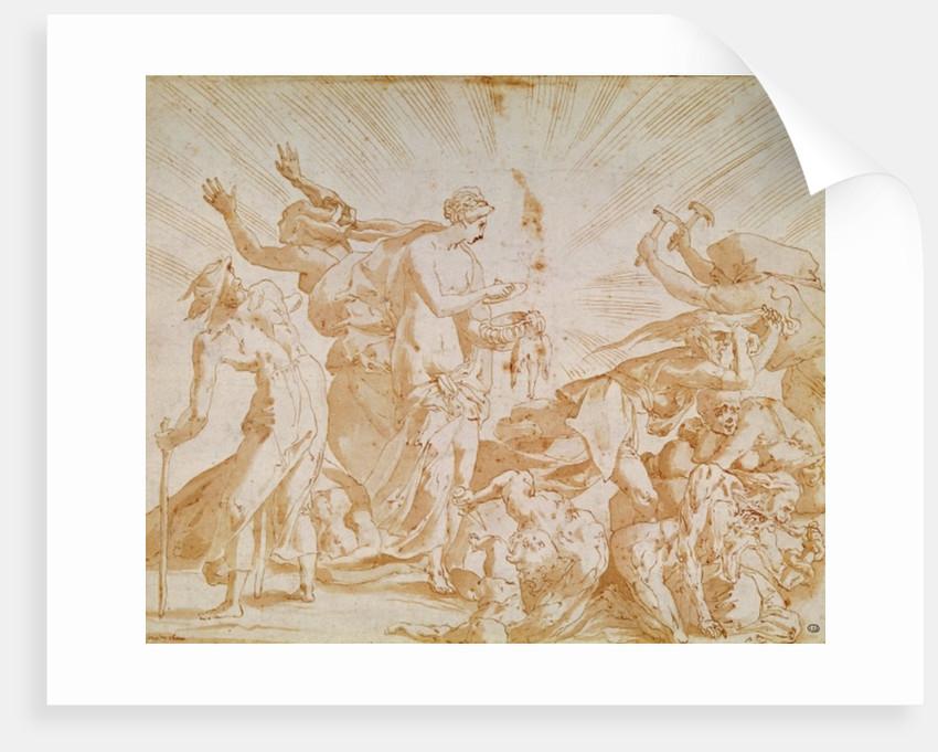 Pandora opening the box by Giovanni Battista Rosso Fiorentino