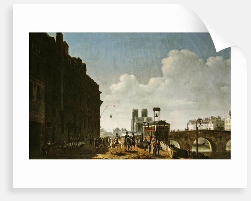 The Emperor Napoleon visiting the market for eau-de-vie on the Quai Bercy on by Etienne Bouhot